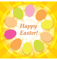 yellow background with easter eggs - happy easter vector image vector image