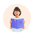young woman jane reading book studying vector image