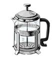 French press tea pot vector image