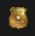 gold police badge isolated on black background vector image