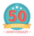 50 years anniversary emblem with ribbon stars and vector image vector image