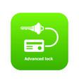 advanced lock icon green vector image