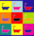 bathtub sign pop-art style colorful icons vector image vector image
