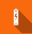battery icon with long shadow vector image vector image