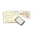 books with coffee on a white background vector image vector image