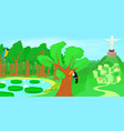 brazil horizontal banner forest cartoon style vector image vector image