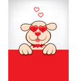 cartoon card with funny dog with heart sunglasses vector image