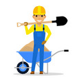 cartoon character builder holding a shovel vector image vector image