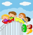 Cartoon kids riding roller coaster vector image vector image