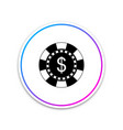 casino chip and dollar symbol icon isolated on vector image