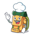 chef backpack character cartoon style vector image vector image