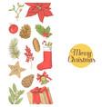 christmas greeting card new year hand drawn vector image vector image