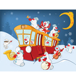 Christmas Snowman Music Band and Red Tram vector image