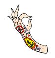comic cartoon tattoo arm
