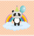 cute bear panda with rainbow kawaii birthday card vector image