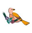 cute bird flower beak feather adorable icon vector image