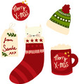 cute christmas icons set hand drawn vector image vector image