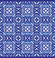 damask mosaic geometric blue seamless tiles vector image