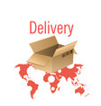 delivery box and world map background image vector image