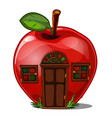 fairy house in the shape of an apple isolated on a vector image