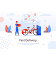 fast delivery man pizza box electric bike charging vector image