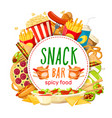 fast food snack bar poster vector image vector image