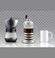 french press coffee set vector image vector image