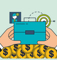 hands with business briefcase money target digital vector image