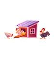hen house chicken coop cartoon roosters hencoop vector image