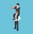 isometric businessman ride on his colleague vector image