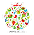 merry christmas gift decoration cartoon vector image vector image
