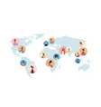 mix race people avatars on world map global vector image