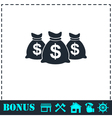 Money bags icon flat vector image vector image