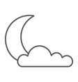 night thin line icon weather and climate moon vector image vector image