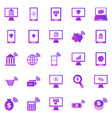 online banking gradient icons on white background vector image