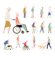 people are disabled on street pensioners on a vector image vector image