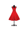 red elegant dress on mannequin vector image vector image