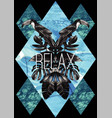 relax slogan watercolor toucan graphic leaves and vector image vector image