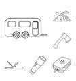 rest in the camping outline icons in set vector image vector image