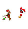 santa and a reindeer in sunglasses vector image vector image