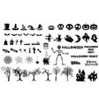 set halloween silhouettes icon witch creepy vector image