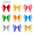 Set of colorful ribbon tied bows vector image vector image