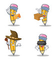 set of pencil character with envelope box witch vector image vector image