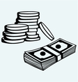 Stack dollars banknotes and coins vector image
