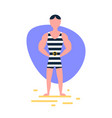 striped singlet man standing pose on white vector image vector image