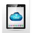 tablet cloud storage concept vector image
