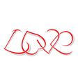 The word love of woven hearts vector image vector image