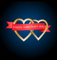 two hearts tied by ribbon vector image vector image