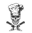 vintage monochrome chef skull vector image vector image