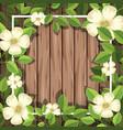 white flower on wooden board vector image